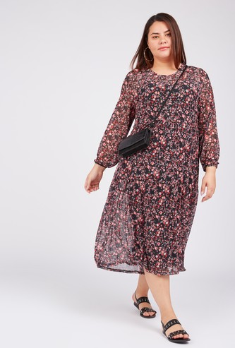Floral Print Midi A-line Dress with Round Neck and Long Sleeves