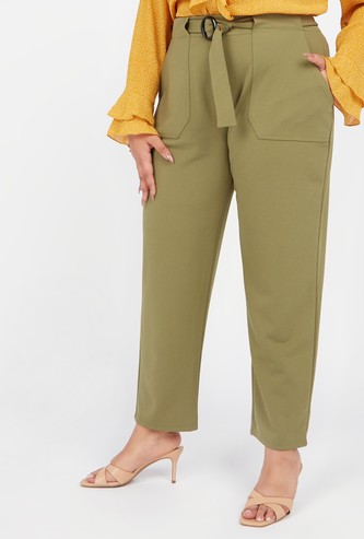 Solid Palazzo Pants with Front Belt Styling