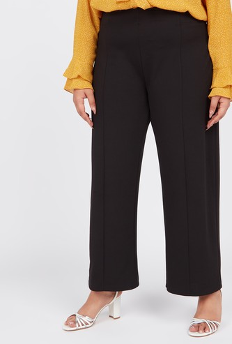 Solid Palazzo Pants with Pintux Detail
