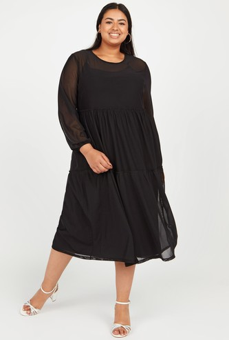 Solid A-line Midi Dress with Round Neck and Long Sleeves