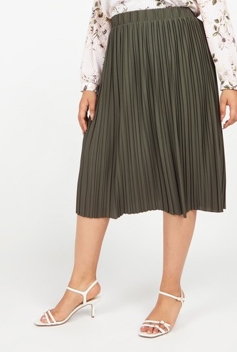 Textured Midi Skirt with Pleats and Elasticised Waistband
