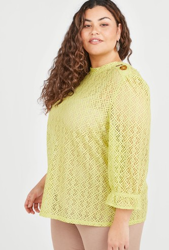 Lace Top with Round Neck and Flounce Sleeves