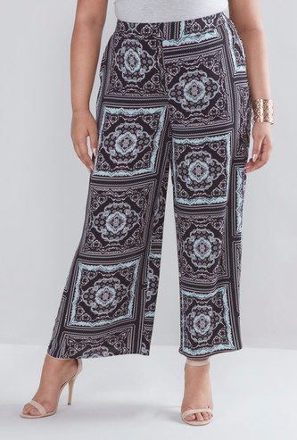 Regular Fit Printed Palazzos with Pocket Detail