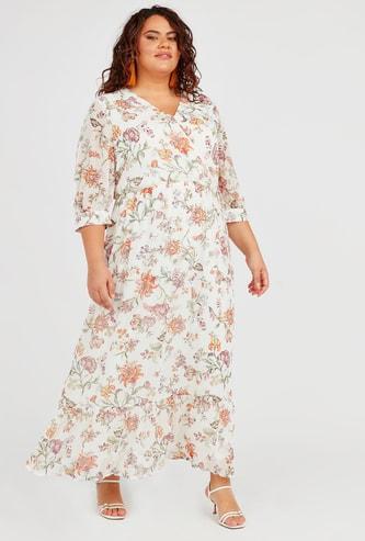 فستان إيه لاين ملفوف طويل  بأكمام 3/4 وأربطة وطبعات أزهار