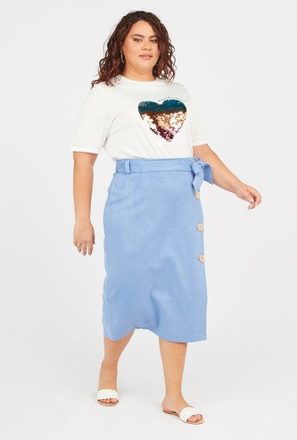 Textured Midi Wrap Skirt with Elasticised Waistband