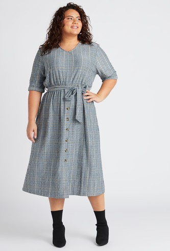 Checked V-Neck Midi Dress with Tie-Ups