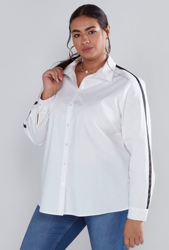 Solid Shirt with Long Sleeves and Side Tape Detail