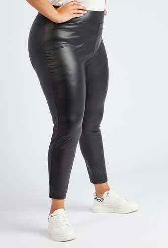 Solid Faux Leather Mid-Rise Ankle Length Leggings
