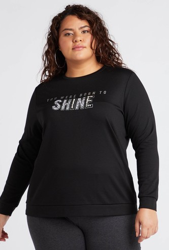 Embellished Round Neck Sweat Top with Long Sleeves