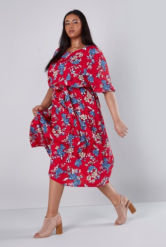 Floral Printed Midi A-line Dress with Boat Neck and Short Sleeves