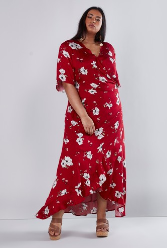 Printed A-line Maxi Wrap Dress with Short Sleeves