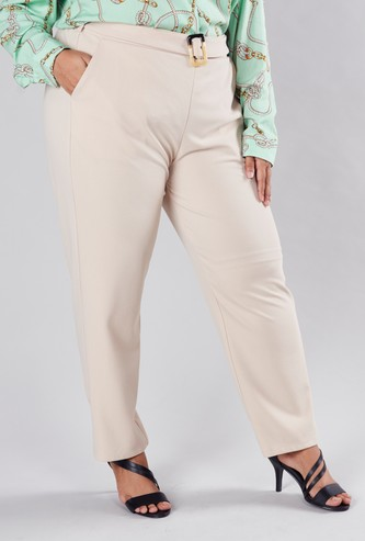 Full Length Trousers with Pocket Detail and Belt Loops