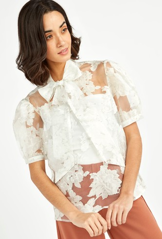Floral Print Organza Puff Sleeve Top with Pussy Bow