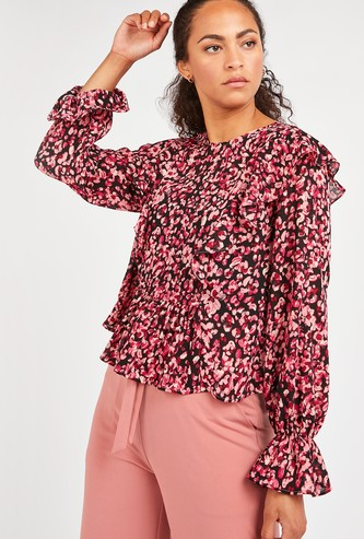 Floral Print Top with Flounce Sleeves and Frill Layer