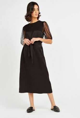 Textured Organza Blouson Midi Dress with Elbow Sleeves