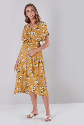 Maternity Printed Midi Dress with Extended Sleeves and Tie Ups