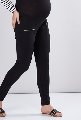 Maternity Ponte Leggings with Zip Detail and Elasticised Waistband