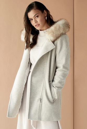 Solid Heavy Melton Jacket with Fur Detail Hood and Tie Up