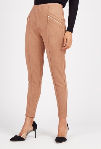 Ankle Length Panelled Suede Jeggings with Mock Zip Pockets