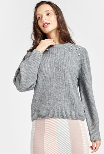 Embellished Pearl Detail Sweater with Long Sleeves and Round Neck