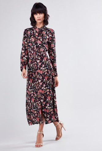 Floral Printed Midi Shirt Dress with Long Sleeves