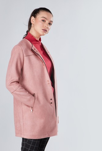 Plain Coat with Button Closure and Pocket Detail