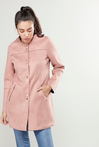 Plain Coat with Long Sleeves and Pocket Detail