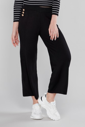 Mid Rise Textured Culottes with Button Detail
