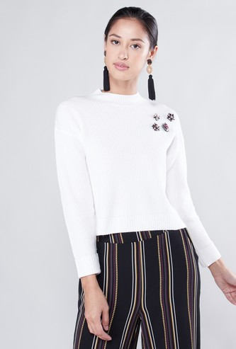 Ribbed High-Neck Sweater with Embellished Detail