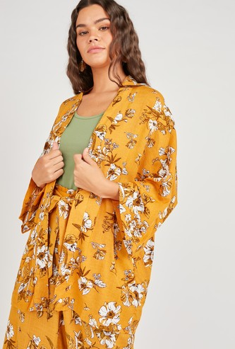 Floral Print Kimono Shrug with 3/4 Sleeves