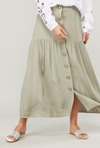 Solid Mid-Rise Skirt with Elasticised Waistband and Button Detail