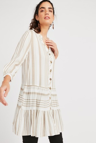 Striped Tunic with V-neck and 3/4 Sleeves