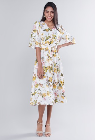 Floral Printed Midi Dress with Tie Up and Short Sleeves