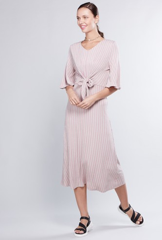 Striped A-line Dress with Tie Ups and 3/4 Sleeves