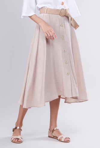 Textured Midi A-line Skirt with Asymmetric Hem and Belt