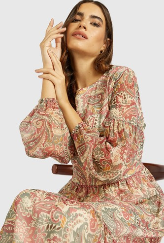 All-Over Print Midi Tiered Dress with Bishop Sleeves