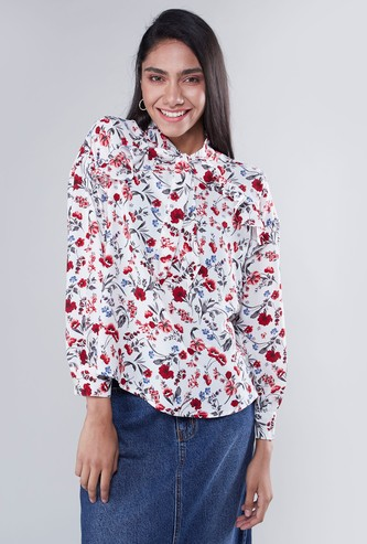 Textured Top with Long Sleeves and Pussy Bow