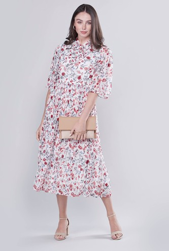Printed A-line Midi Dress with Pussy Bow and 3/4 Sleeves