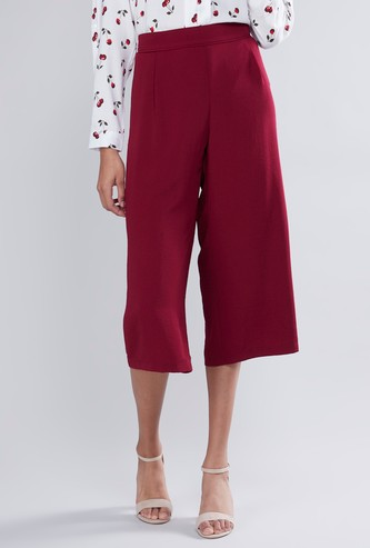 Textured Mid Waist Culottes with Elasticised Waistband