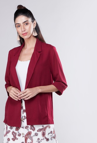 Plain Fluid Blazer with 3/4 Sleeves and Spread Collar