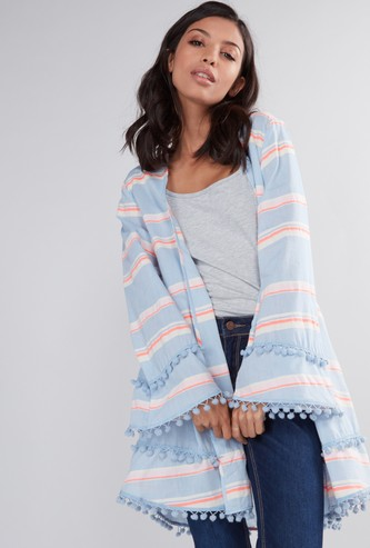 Striped Shrug with Long Sleeves and Pom-Pom Detail
