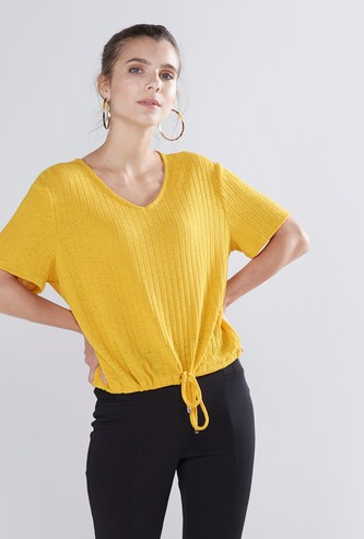 Ribbed V-neck Top with Short Sleeves and Tie Up Detail