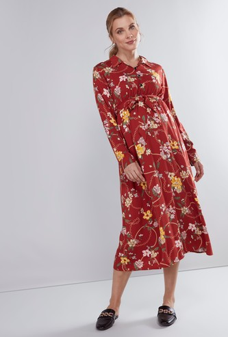 Maternity Printed Midi Dress with Long Sleeves and Tie Ups