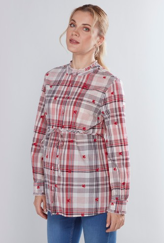 Maternity Chequered Shirt with Long Sleeves