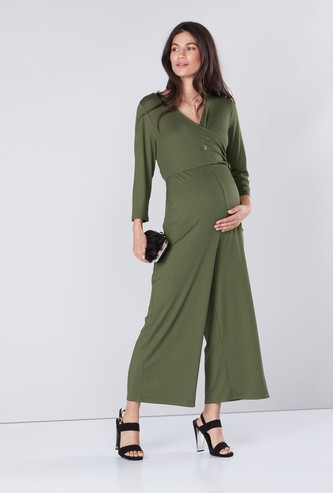 Ribbed Maternity Jumpsuit with V-neck and Tie Ups