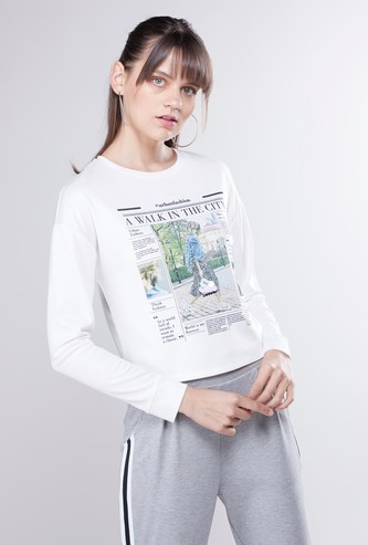 Printed Crop Sweat Top with Round Neck and Long Sleeves