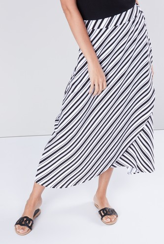Striped Skirt with Elasticised Waistband and Asymmetric Hem