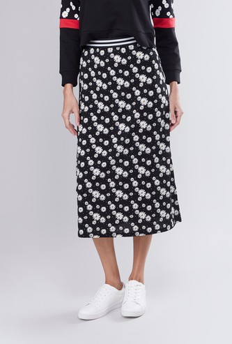 Floral Print A-line Midi Skirt with Striped Elasticated Waistband