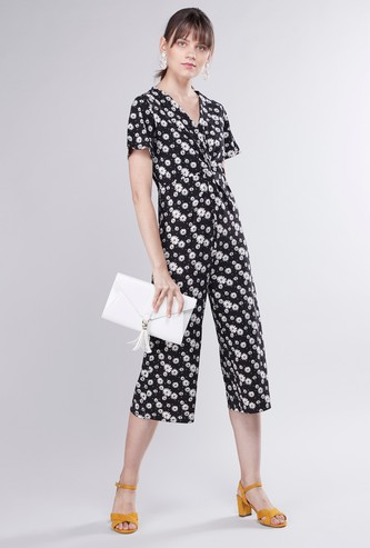 Floral Printed V-neck Jumpsuit with Short Sleeves