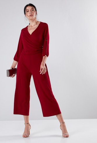 Solid Midi Wrap Style Jumpsuit with Button Detail